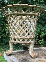 Pair of Coalbrookdale Style Antique Garden Cast Iron Lattice Urn Planters Claw Feet (10 of 12)