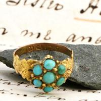 The Antique Victorian 1868 Seven Turquoise Ring (5 of 6)