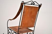 Antique Wrought Iron & Leather Rocking Chair (10 of 12)