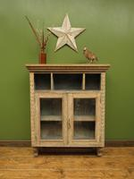 Antique Limed Oak Display Cabinet, Victorian rustic bohemian wall cabinet