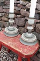 Pair of Swedish 'Folk Art' Large Over-sized Wooden Painted Candlesticks 20th Century (13 of 17)