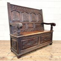 Antique 19th Century Carved Oak Settle (2 of 10)