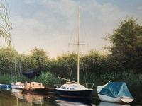 20th Century Oil Painting Pastoral Boats Heybridge Basin Canal Signed Listed Graham Petley (3 of 12)
