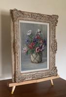 Signed Oil on Canvas Anemones in a Vase (3 of 7)