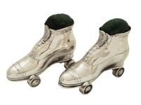Pair of Antique Edwardian Sterling Silver Roller Skate Pin Cushions  1910 (11 of 11)