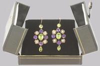 Suffragette Earrings Amethyst Peridot Pearl 15ct Gold Edwardian Dangle Earrings (6 of 7)