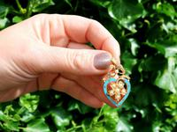 Seed Pearl, Enamel & 18ct Yellow Gold Pendant - Antique c.1890 (2 of 9)
