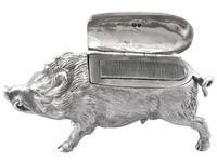 Sterling Silver Boar Vesta Box - Antique Victorian 1880 (6 of 12)
