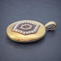 Antique Victorian 18ct Gold Pearl Locket Blue Enamel Cross Circa 1900 Boxed (3 of 6)