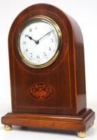 Impressive Solid Mahogany Arched Top Cased Timepiece Clock with Satinwood Inlaid Decoration (5 of 10)