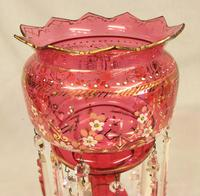 Antique Victorian Cranberry Mantle Table Lustre (5 of 8)