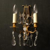 French Pair of Gilded Twin Arm Wall Lights (2 of 10)