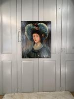 Antique Spanish oil painting study of a society lady with bonnet (3 of 10)