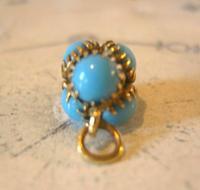 Georgian Pocket Watch Chain Fob 1830s Golden Gilt & Turquoise Dainty Ball Fob (6 of 7)
