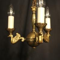 French Gilded Brass Empire 3 Light Chandelier (5 of 10)