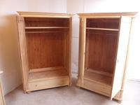 Quality Pair of 1 Panel Antique Pine Knockdown Wardrobes to wax / paint (8 of 11)