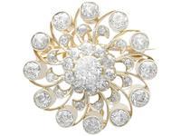 3.76ct Diamond & 9ct Yellow Gold Brooch / Pendant - Antique c.1880