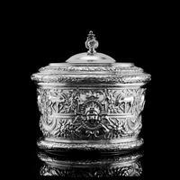 Rare Antique Solid Silver Cellini Tea Caddy Box - Mappin & Webb 1902 (2 of 28)