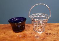Antique Solid Silver & Bristol Blue Glass Basket (2 of 6)