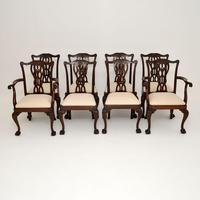 Set of 8 Antique Mahogany Chippendale Style Dining Chairs