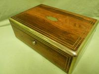 Quality Fully Brass Bound Rosewood Writing Box. Many Features. C1875 (3 of 16)