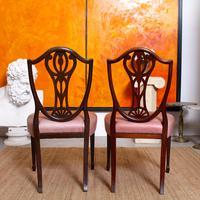 6 Dining Chairs Hepplewhite Mahogany Leather 19th Century (5 of 15)