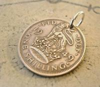Vintage Pocket Watch Chain Fob 1949 Lucky Silver One Shilling Old 5d Coin Fob (4 of 6)
