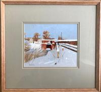 Original gouache 'Snow and sunlight' by Peter Kelly NEAC. RBA. 1931-2019. Signed c.1980 (3 of 3)