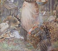 Superb Watercolour 'Feeding the Turkeys' by Robert Crozier (6 of 6)