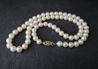 Vintage 1940s Cultured Pearl necklace, 14k gold (8 of 11)