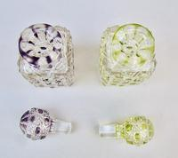 Beautiful Pair of French Lime & Amethyst Glass Hobnail Cut Scent Bottles c.1900 (6 of 7)