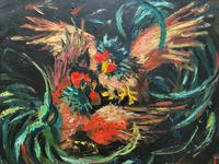 Stunning Original 1970s Vintage Abstract  Acrylic Painting Cocks Fighting - Game (3 of 15)