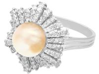 Natural Saltwater Pearl & 0.95ct Diamond, 18ct White Gold Dress Ring c.1930 (4 of 12)