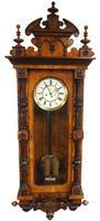 Rare Impressive Antique Burr Walnut 8-Day Twin Weight Striking Vienna Regulator Wall Clock by Gustav Becker (10 of 13)