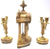 Antique 8 Day French Ormolu & Marble Mantel Clock Set with 2 Branch Candelabras (9 of 10)