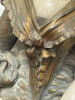 Important Art Nouveau Bronze Marble Seated Lady Sculpture By Xavier Raphanel (21 of 39)