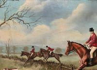 'The Fox Hunt' Original Vintage Country Sporting Pursuit Oil on Canvas Painting (9 of 17)
