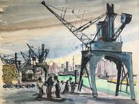 Original watercolour Dockers, boats and cranes' by Egon Adler 1892-1963. Initialled and dated 1925.