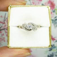 Vintage 18ct Platinum diamond trilogy ring c1930s ~ 1950s (5 of 10)