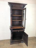 Victorian Carved Oak Cabinet with Glazed Top (3 of 11)