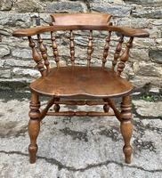Antique Elm Captains Chair Smokers Bow (3 of 13)
