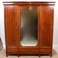 French Triple Wardrobe 19th Century Mahogany Mirrored (2 of 12)