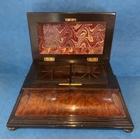 Victorian Burr Cedar & Ebony Shaped Tea Caddy (12 of 20)