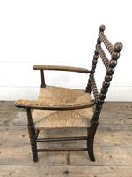 Antique Child's Bobbin Chair with Rush Seat (9 of 10)