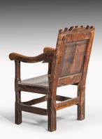 Charles II Style Oak Panelled Armchair (2 of 5)