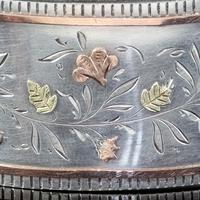 Antique Victorian Floral Cuff Bangle Silver Gold c.1890 (5 of 6)