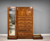 19th Century Victorian Inverted Breakfront Burr Walnut Wardrobe (4 of 10)