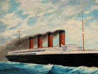 Huge Stunning Antique Seascape Oil Painting of Cunard's RMS Lusitania Ship c.1918 (11 of 16)