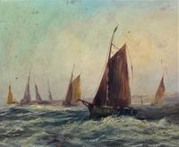19thc (British School) Fishing Boats In Rough Seas Oil On Board Painting (10 of 13)