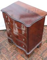 1900's Quality Mahogany Serpentine Chest Drawers + Flame Veneer on Bracket feet (4 of 4)